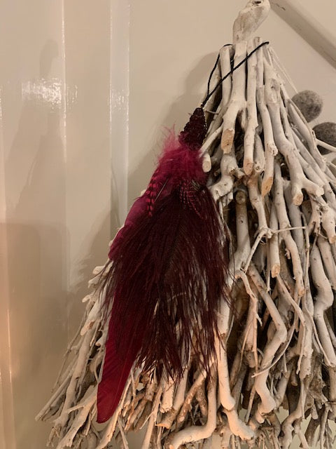 Ruby red feather hanger