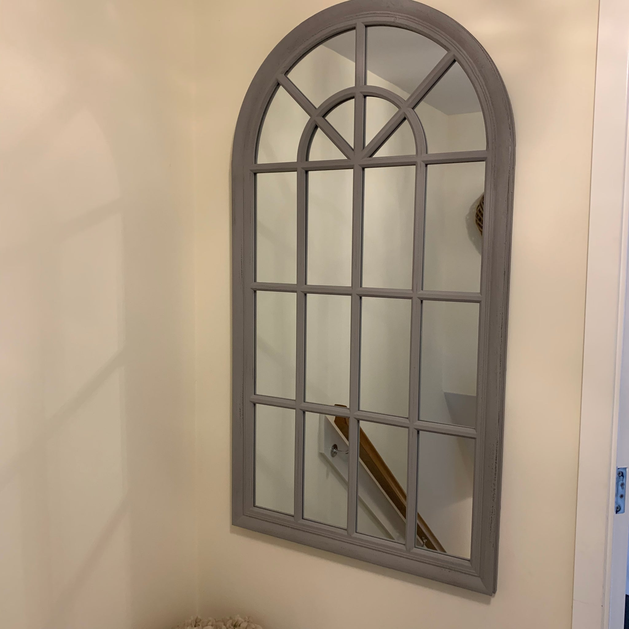Large grey arch mirror