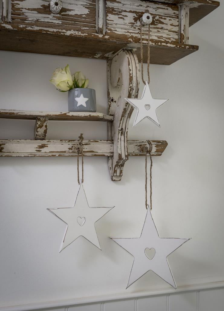 White Stars with Heart Cutout - 3 Sizes