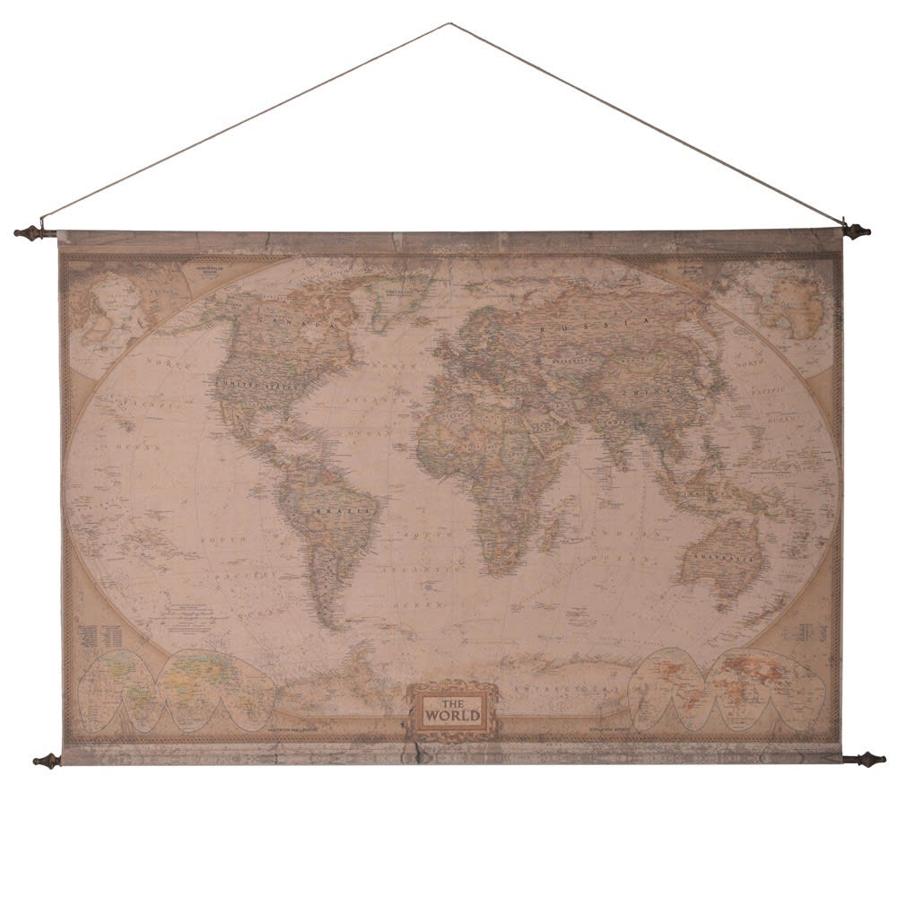 Extra Large Fabric Hanging World Map