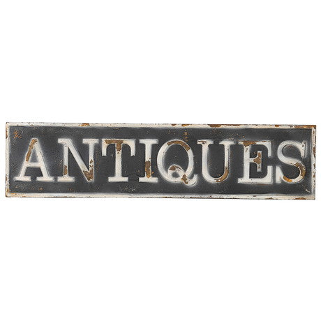 'Antiques' Metal Sign