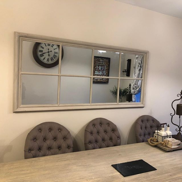 Large taupe windowpane mirror