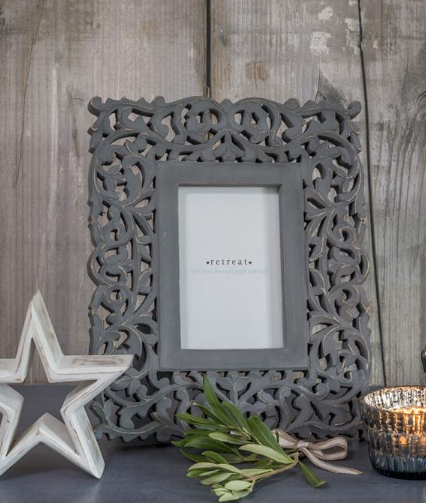 "Grey ornate carved frame 5"" x 7"""