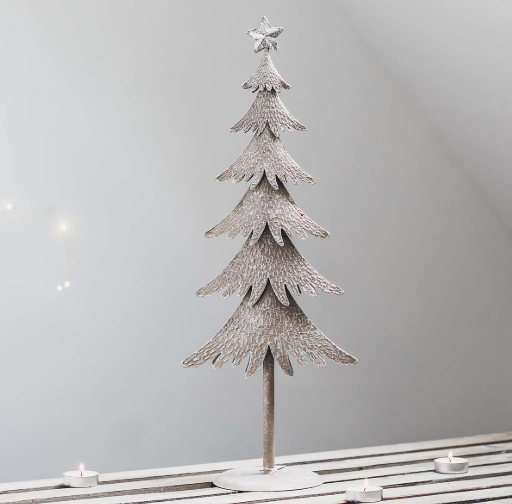 Silver metal rustic christmas tree
