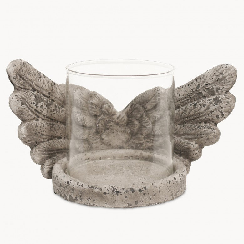 Stone winged candle holder