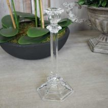 Large Glass Taper Candle Holder