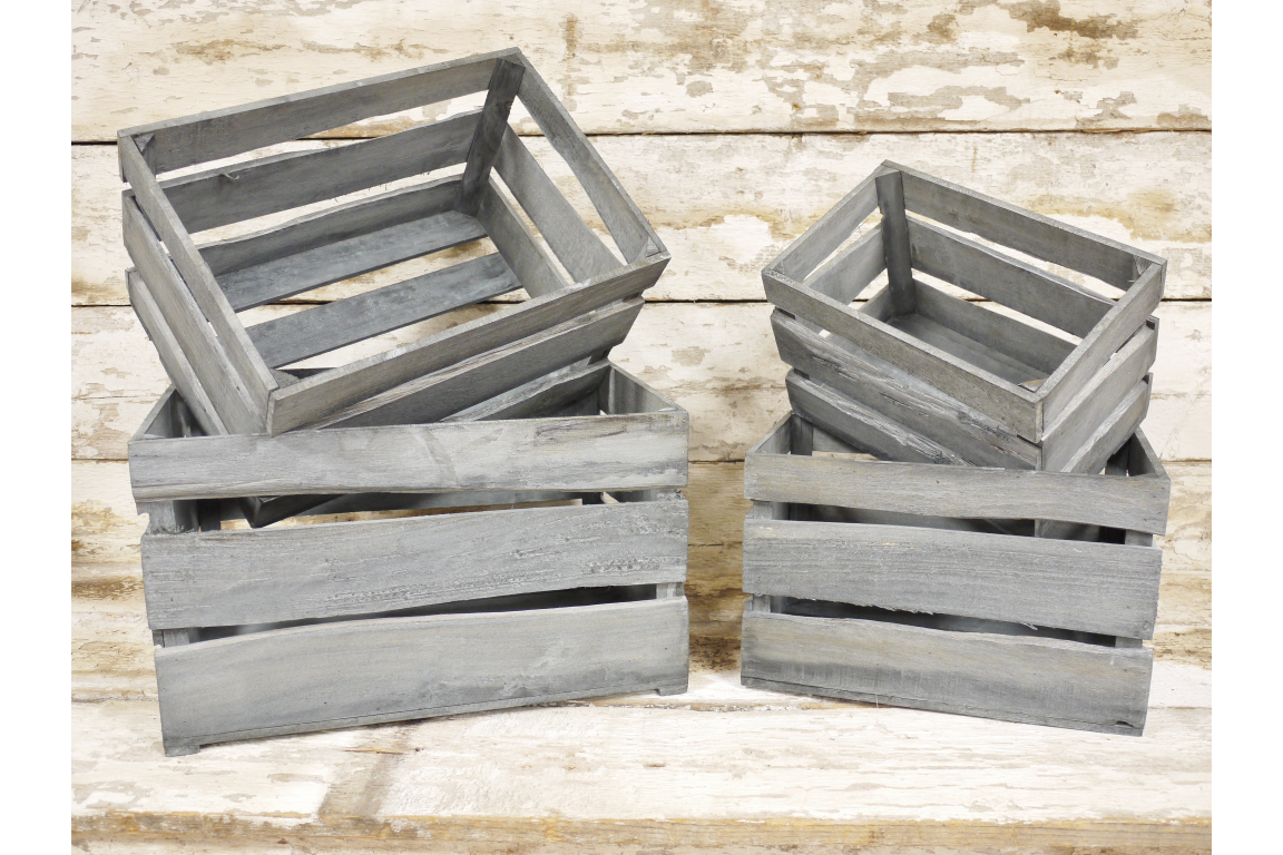Grey wooden crates - 4 sizes