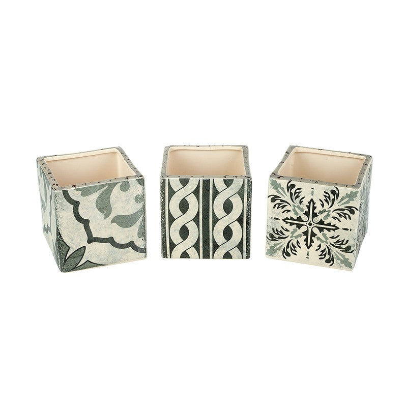 Set of 3 Square Ceramic Grey Pots
