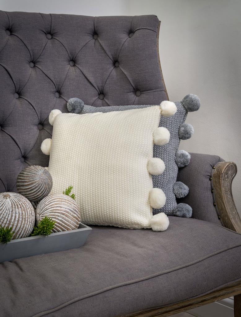 Pom Pom Cushion - Grey or Cream