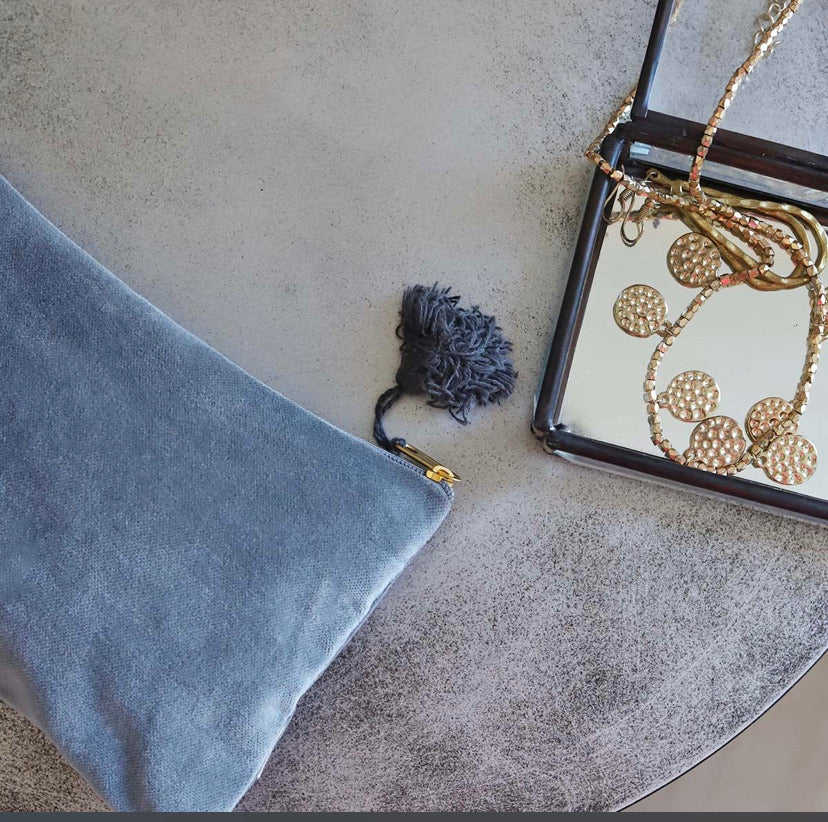 Small grey velvet bag
