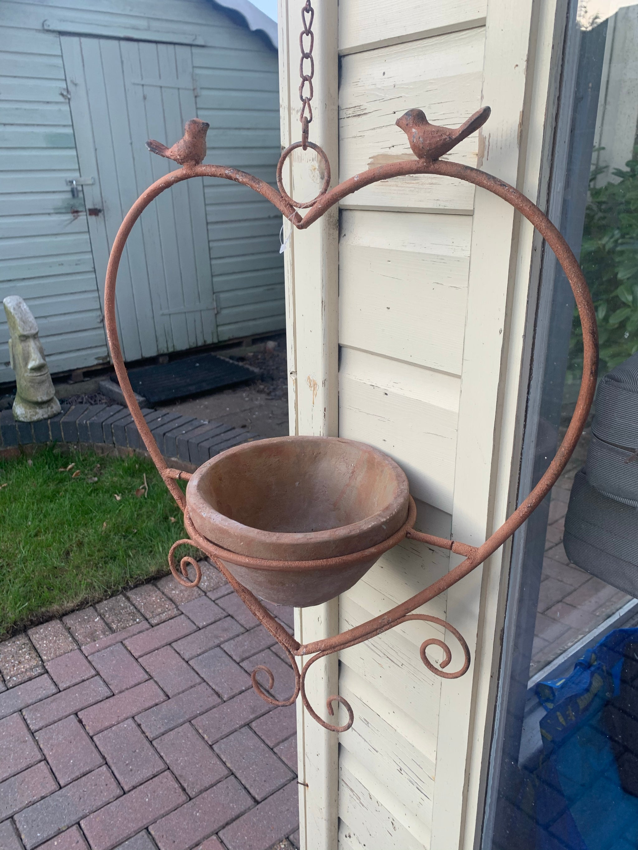 Rusty heart hanging planter