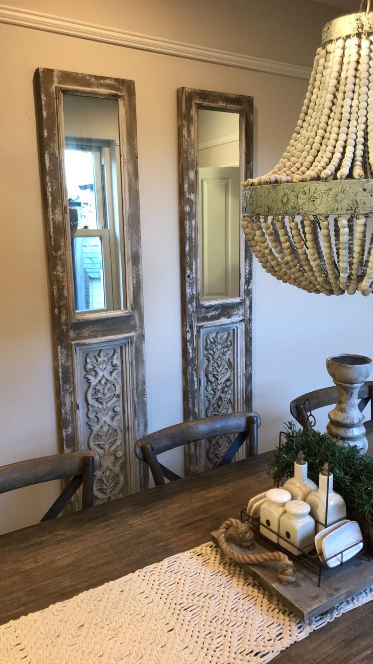 Long rustic decorative mirror
