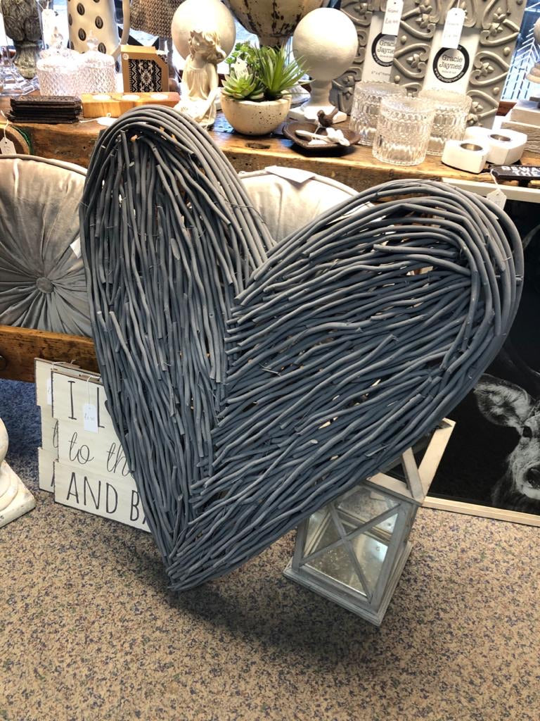Grey Extra Large Wicker Wall Heart