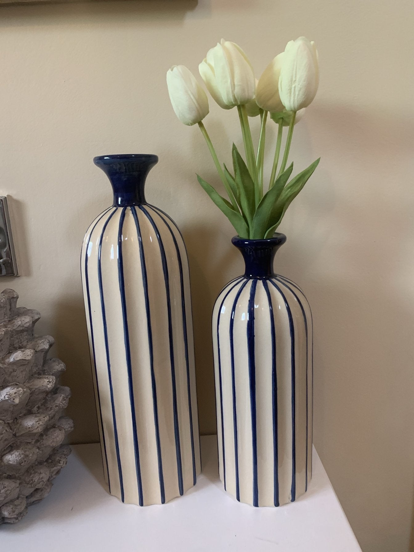 Blue and Cream Vases - 2 sizes