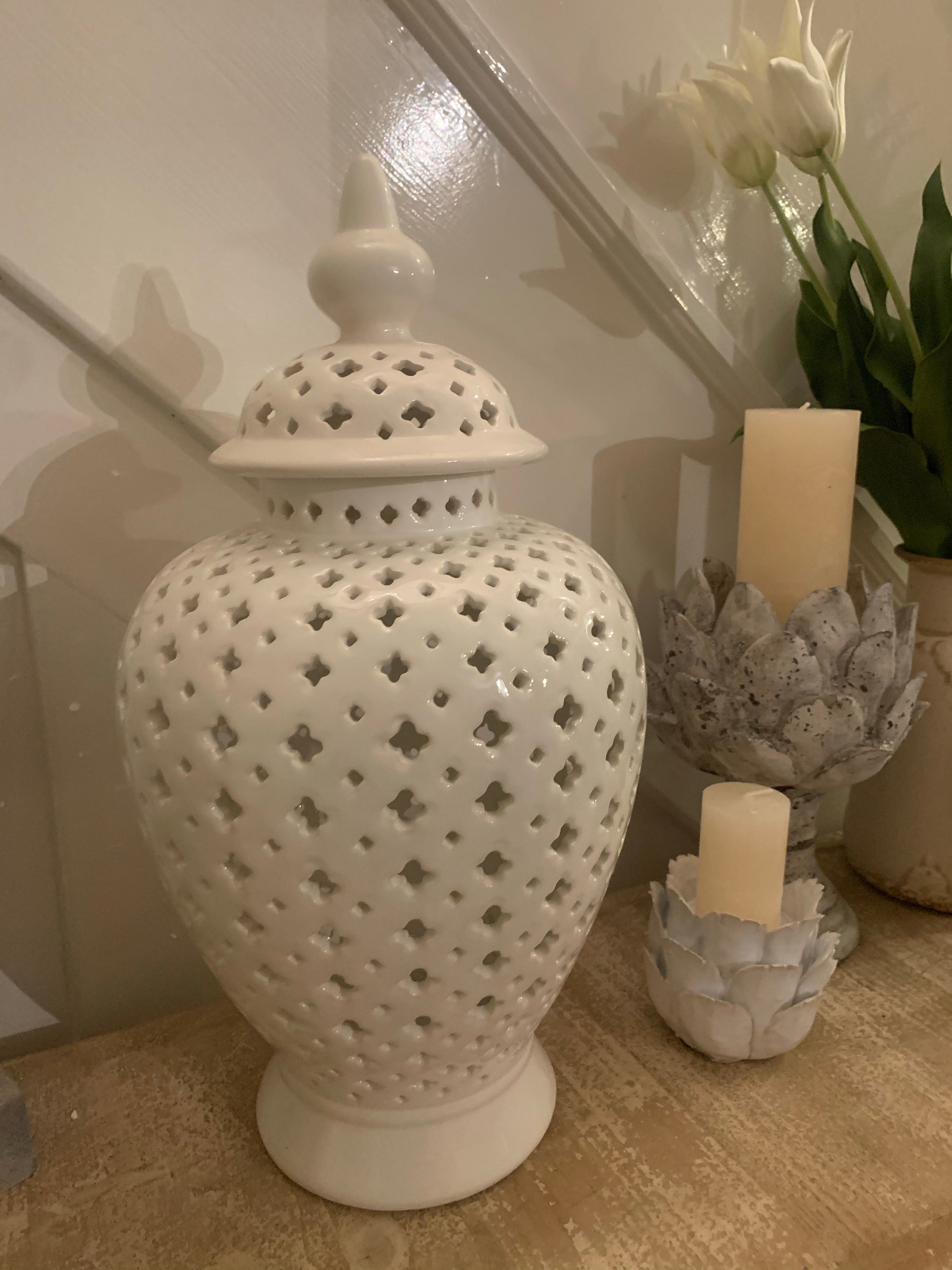 Large white pierced Jar with Lid