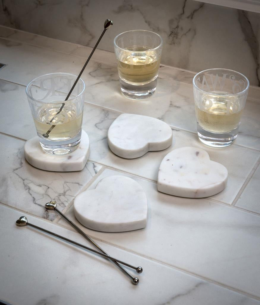 Set of 4 Marble heart coasters