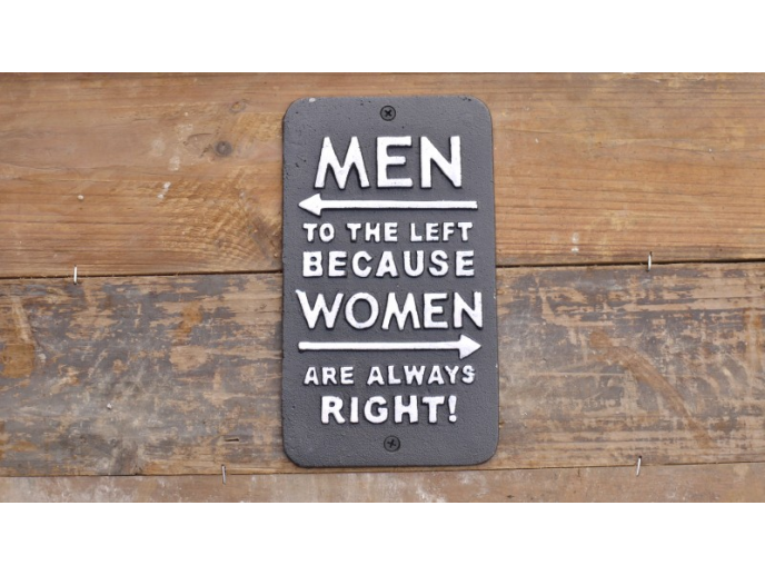 Men to the left because women are always right