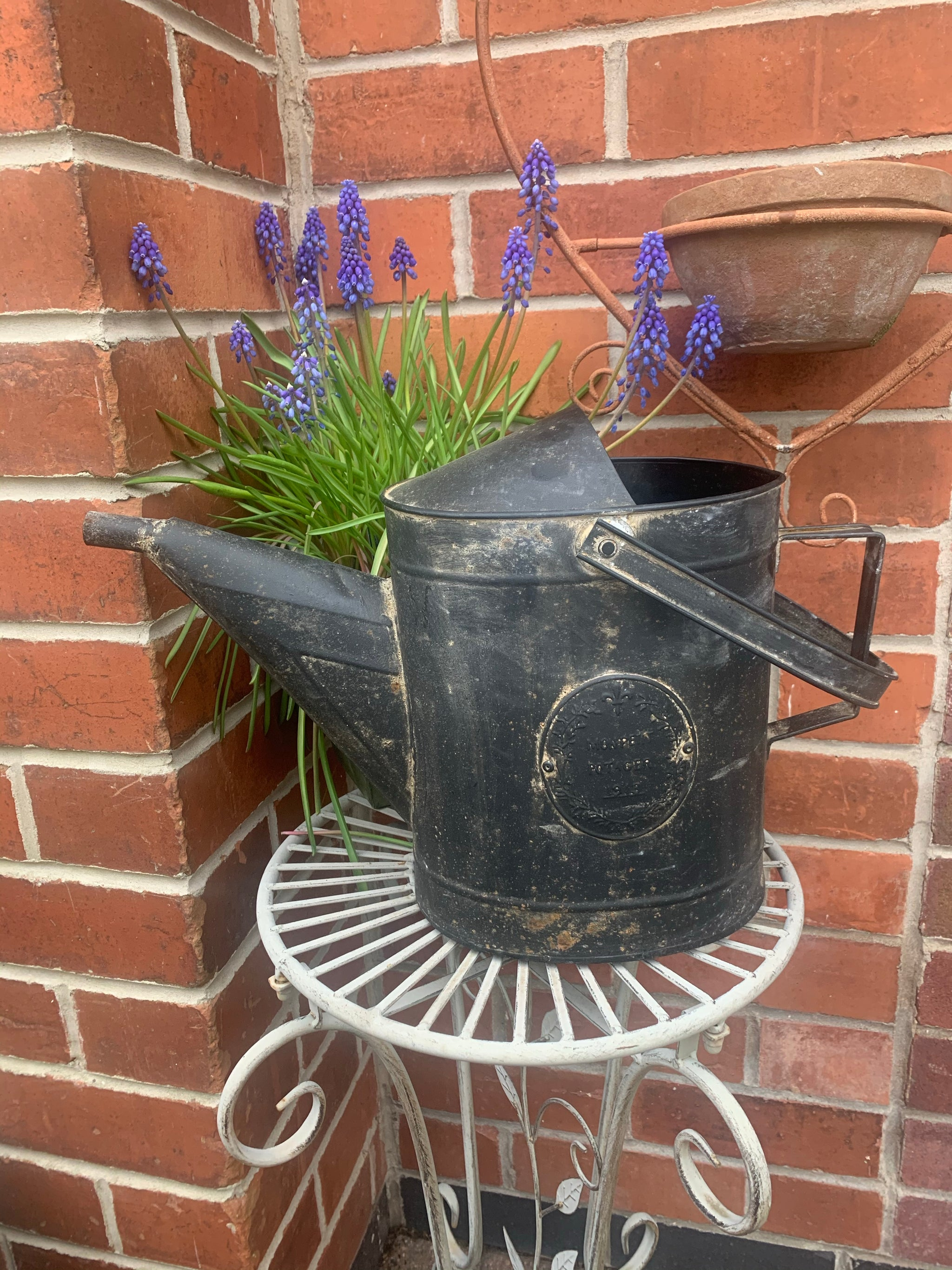 Black distressed watering can
