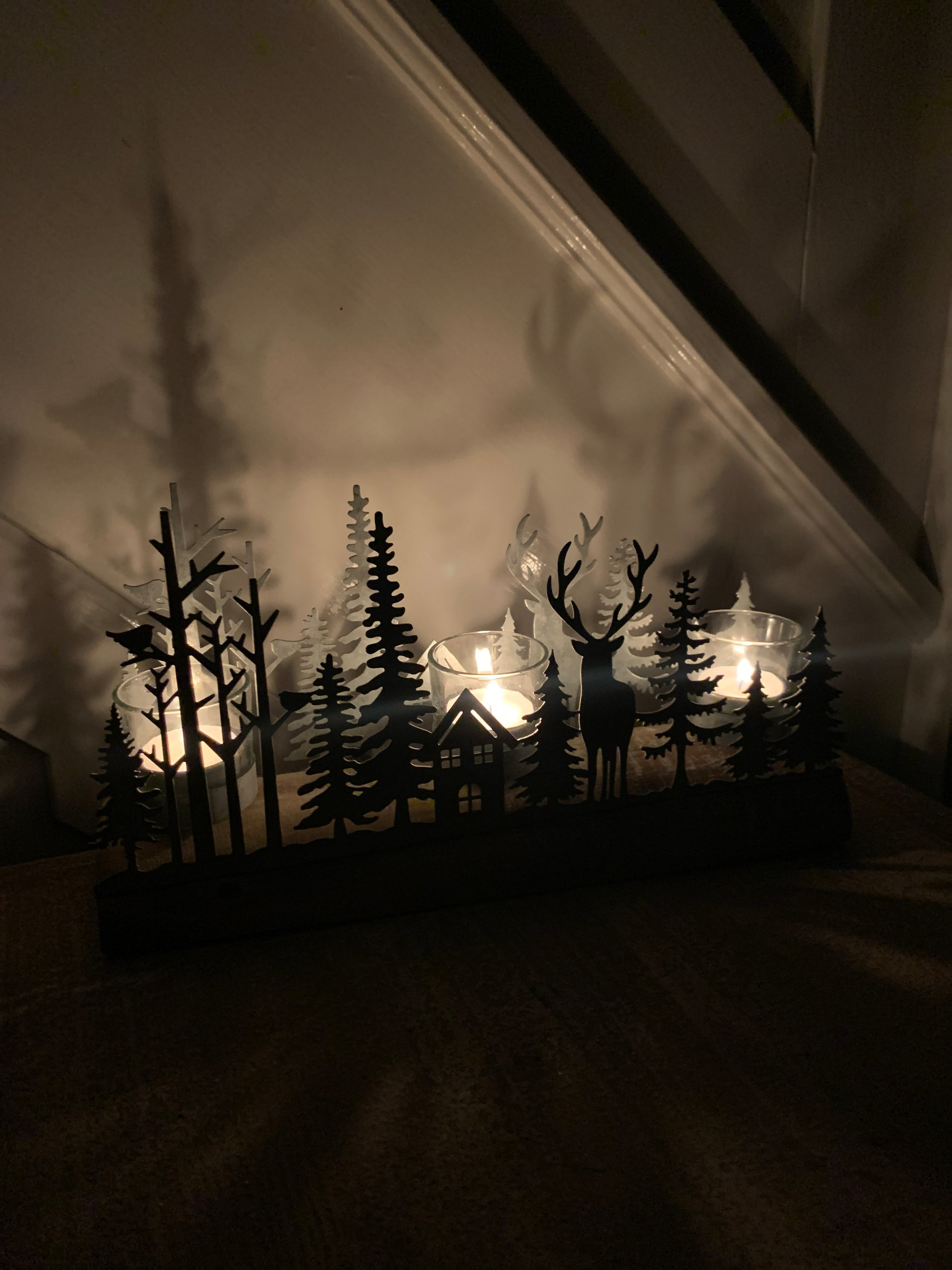 Winter forest rustic Tealight Holder