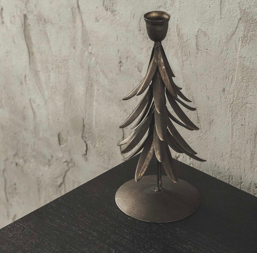 Antique brass tree candle holder