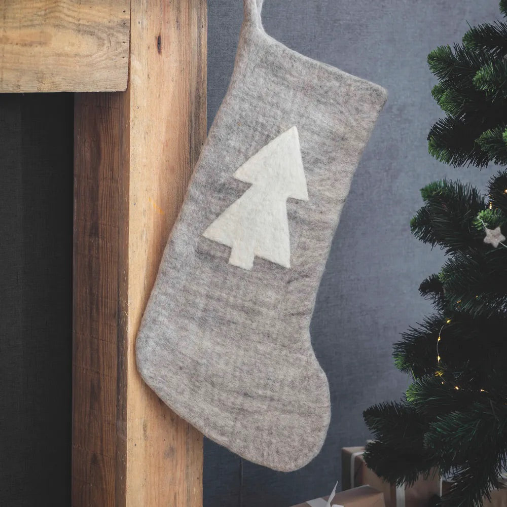 Grey Felt Stocking with Tree
