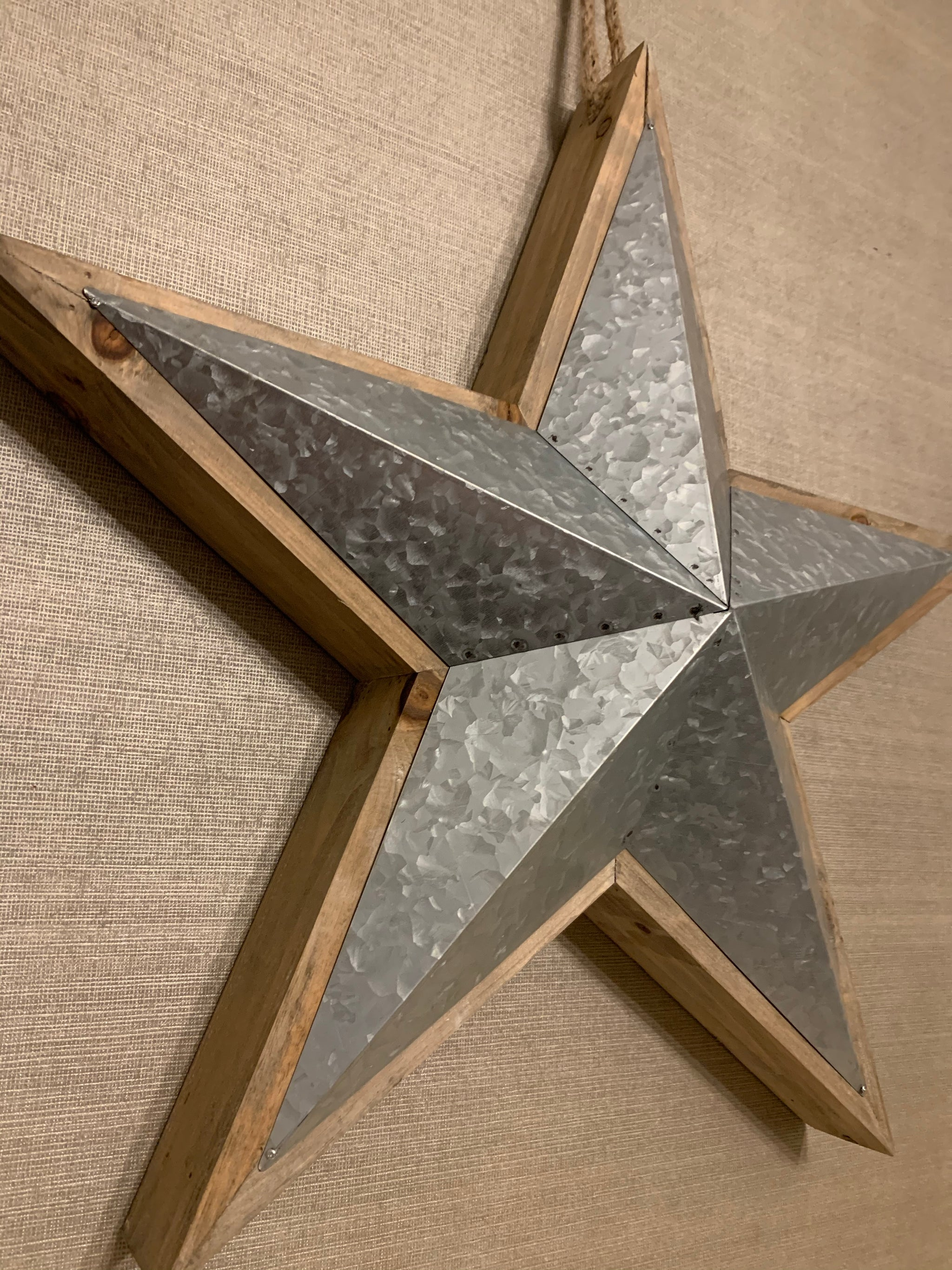 Wood & Metal 3D Hanging Star - 2 sizes