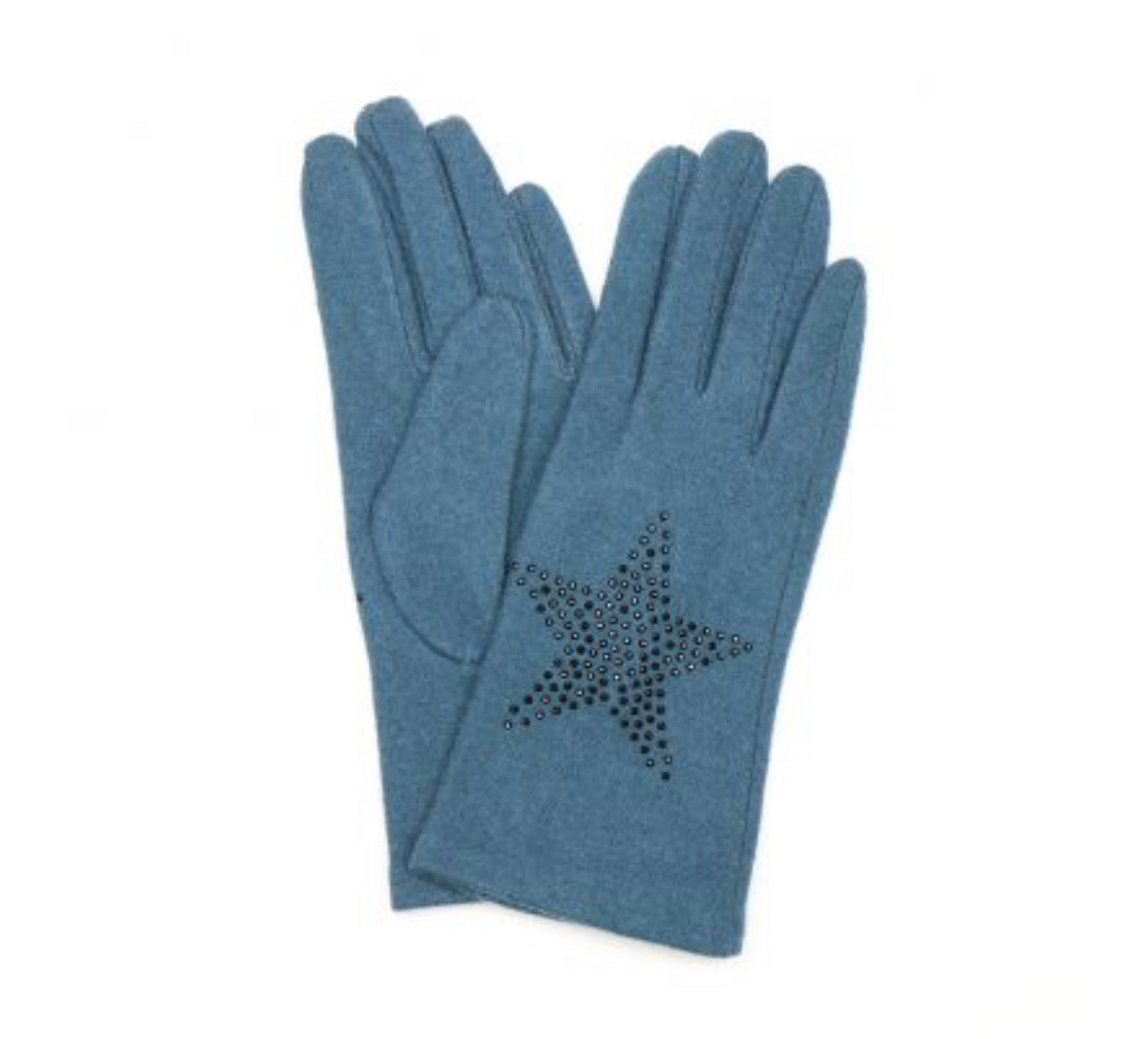 Teal winter gloves with star