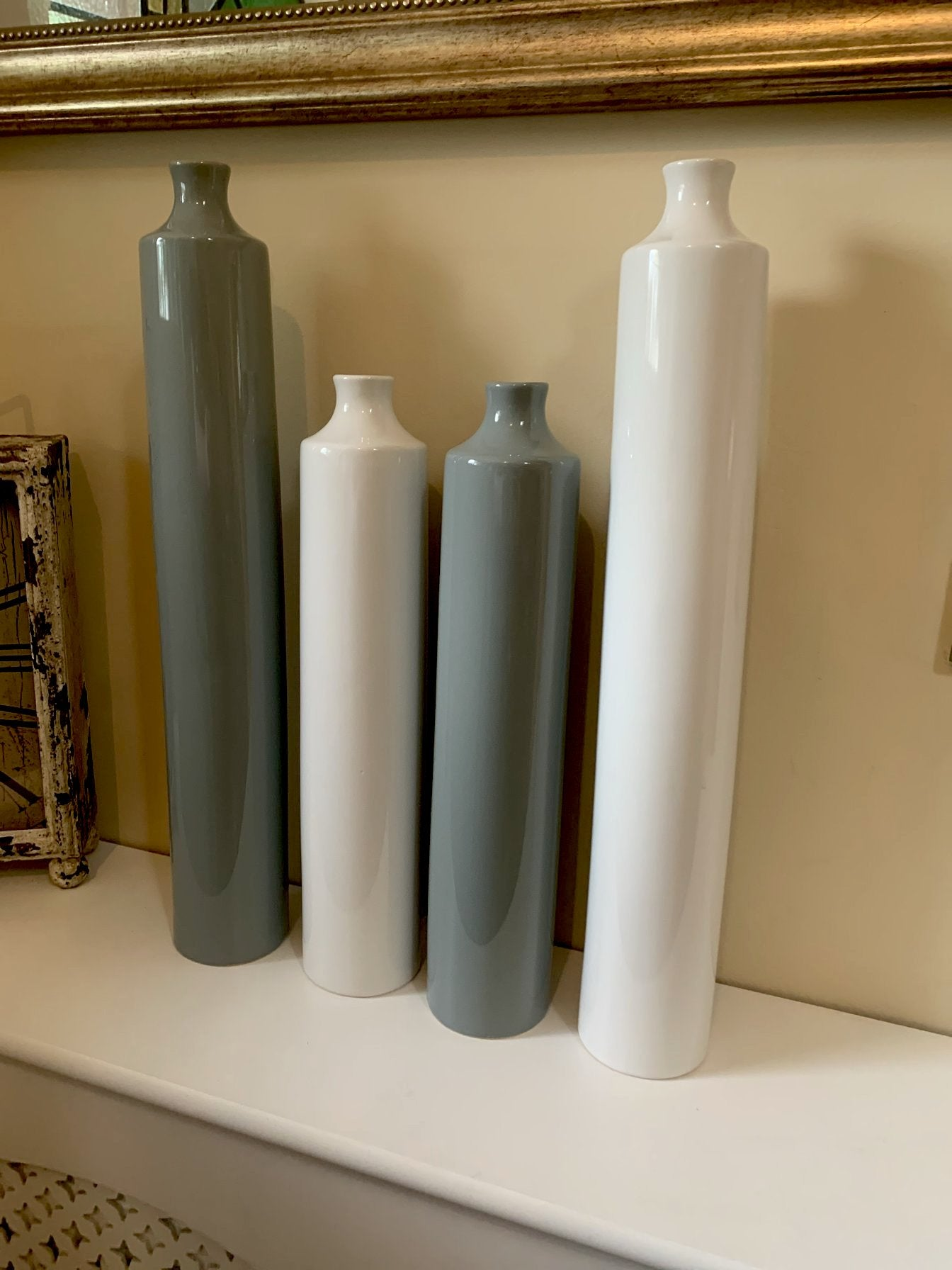 Bottle Vases - 2 Sizes - White or Grey