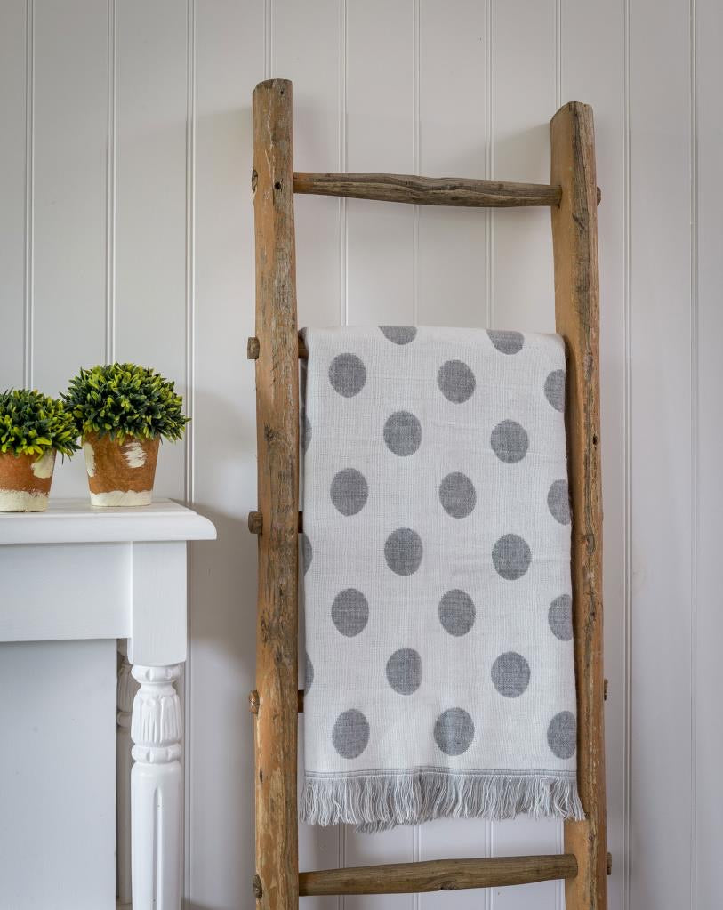 2 way polka dot grey throw