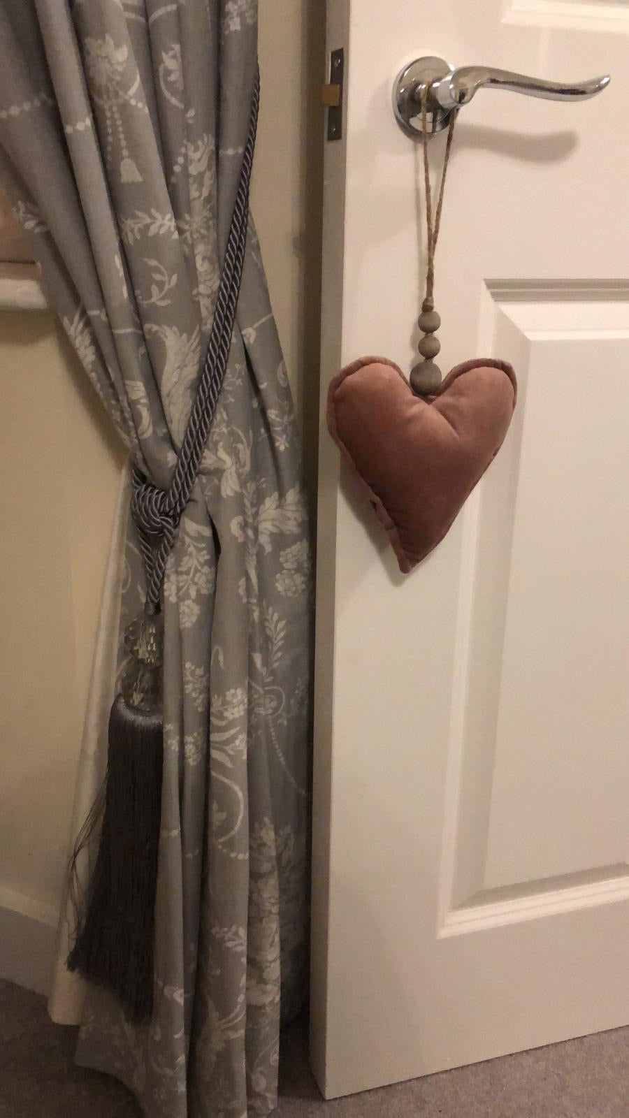 Pink Hanging Heart with grey beads