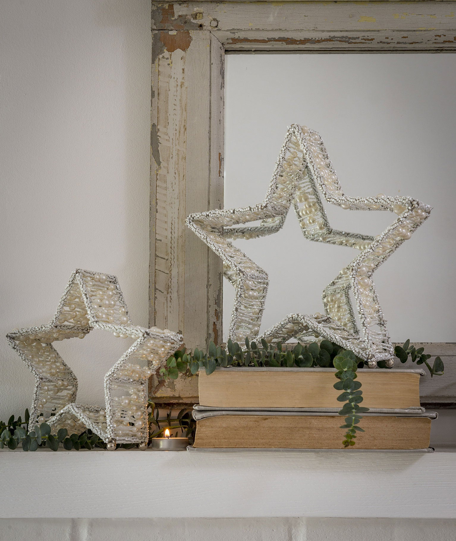 Beaded stars set of 2 - silver or white
