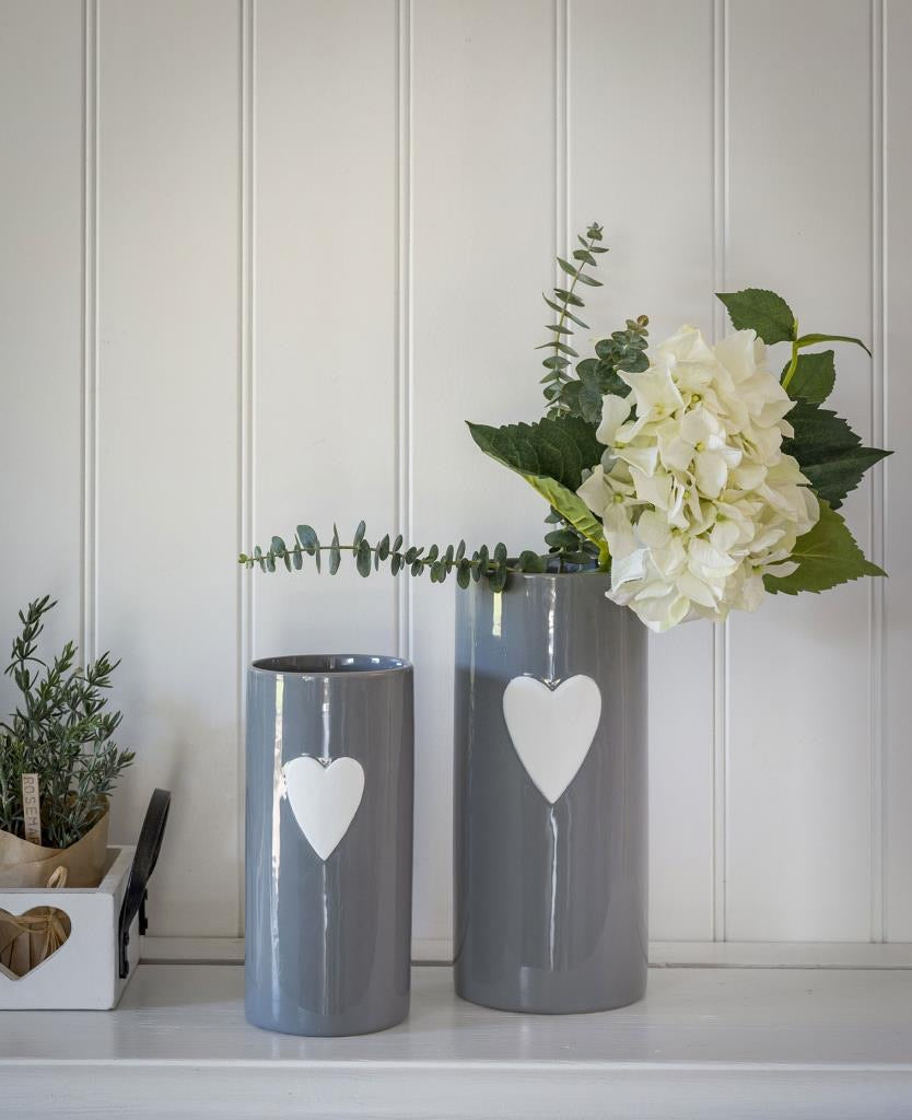 Grey & White Heart Vase - 2 Sizes