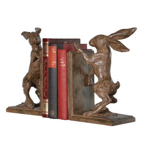 Boxing Hare Bookends