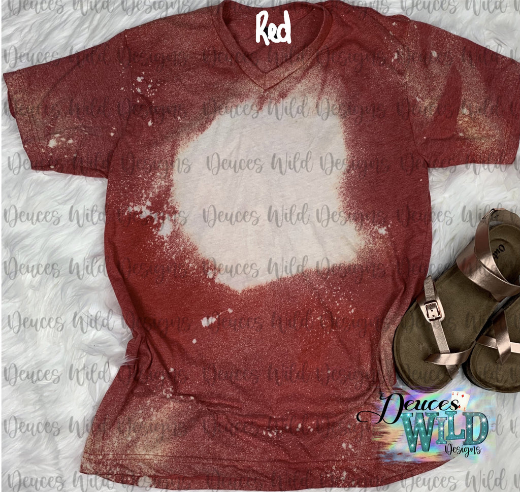 BLANK Red Bleached Distressed Tee (V Neck)