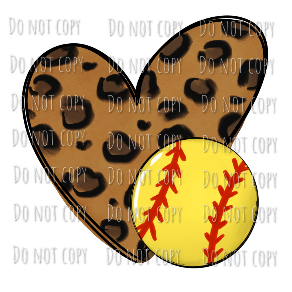 Leopard Heart Softball Design