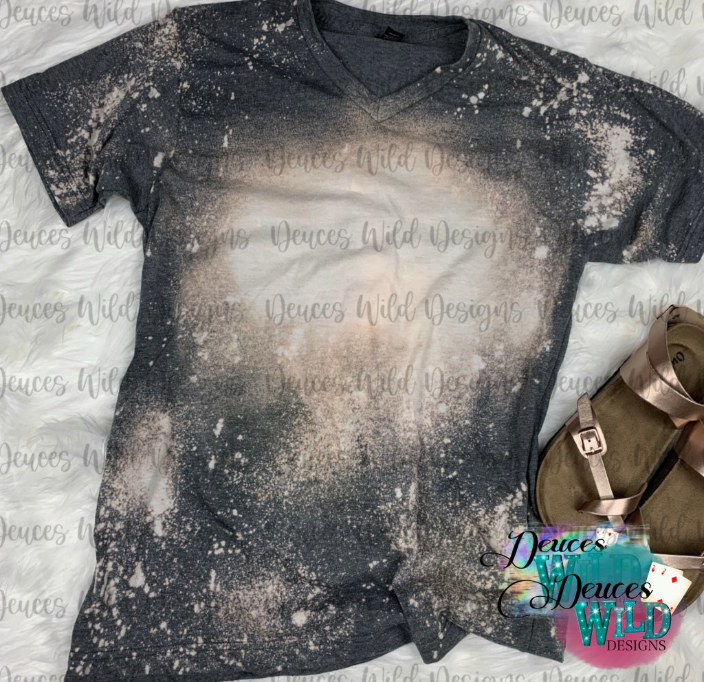 Charcoal Bleached Distressed Tee (V Neck)