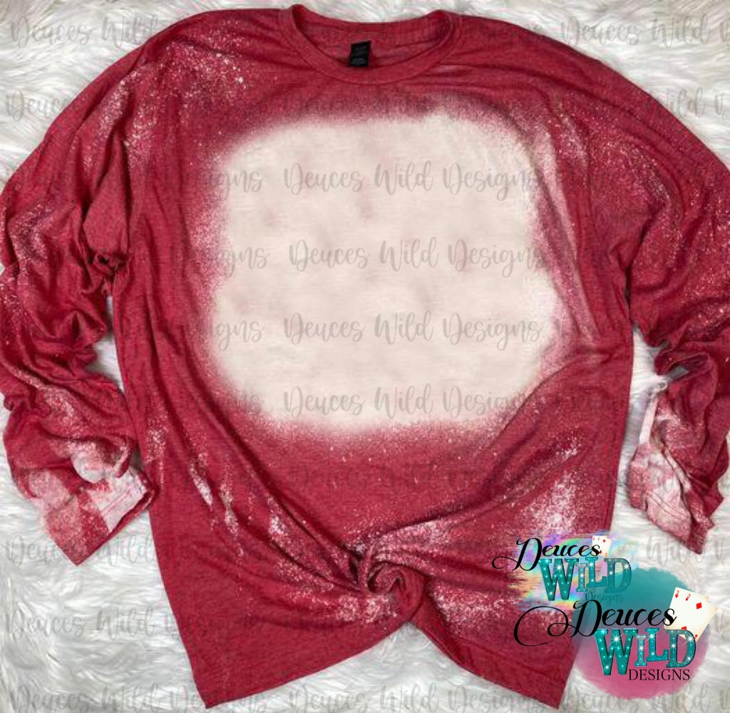 Red Long Sleeve Bleached Distressed Tee (Crew Neck)