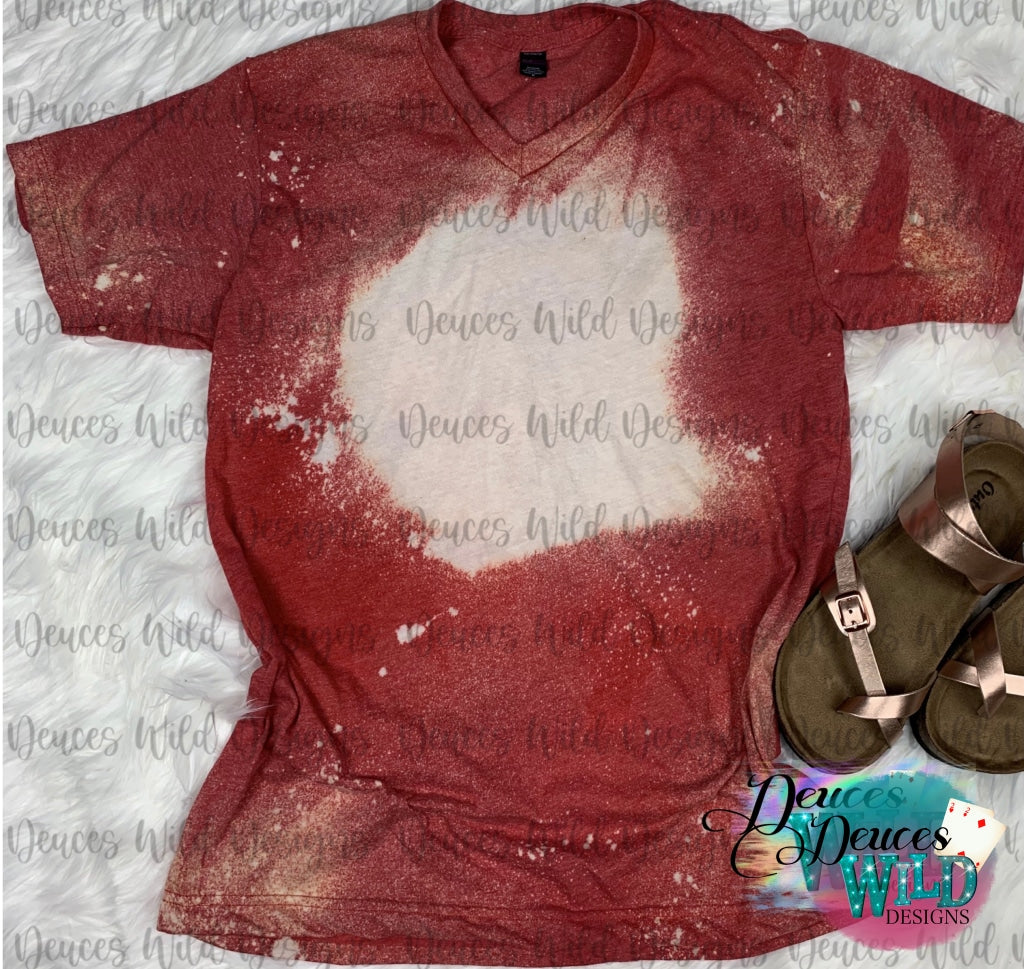 Red Bleached Distressed Tee (V Neck)