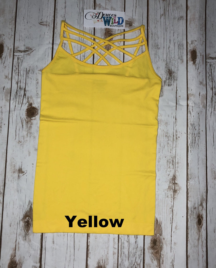 Criss Cross Caged Cami- Yellow