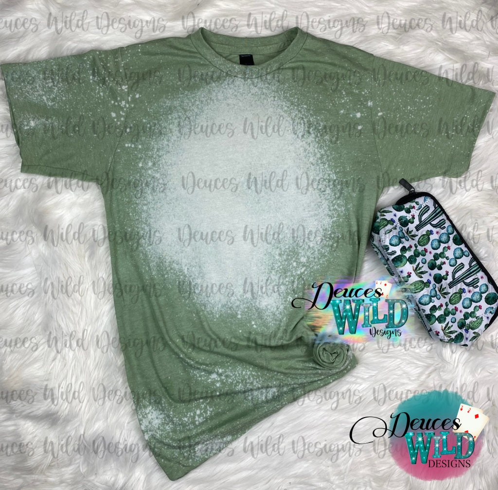 Pistachio Green Bleached Distressed Tee (Crew Neck)