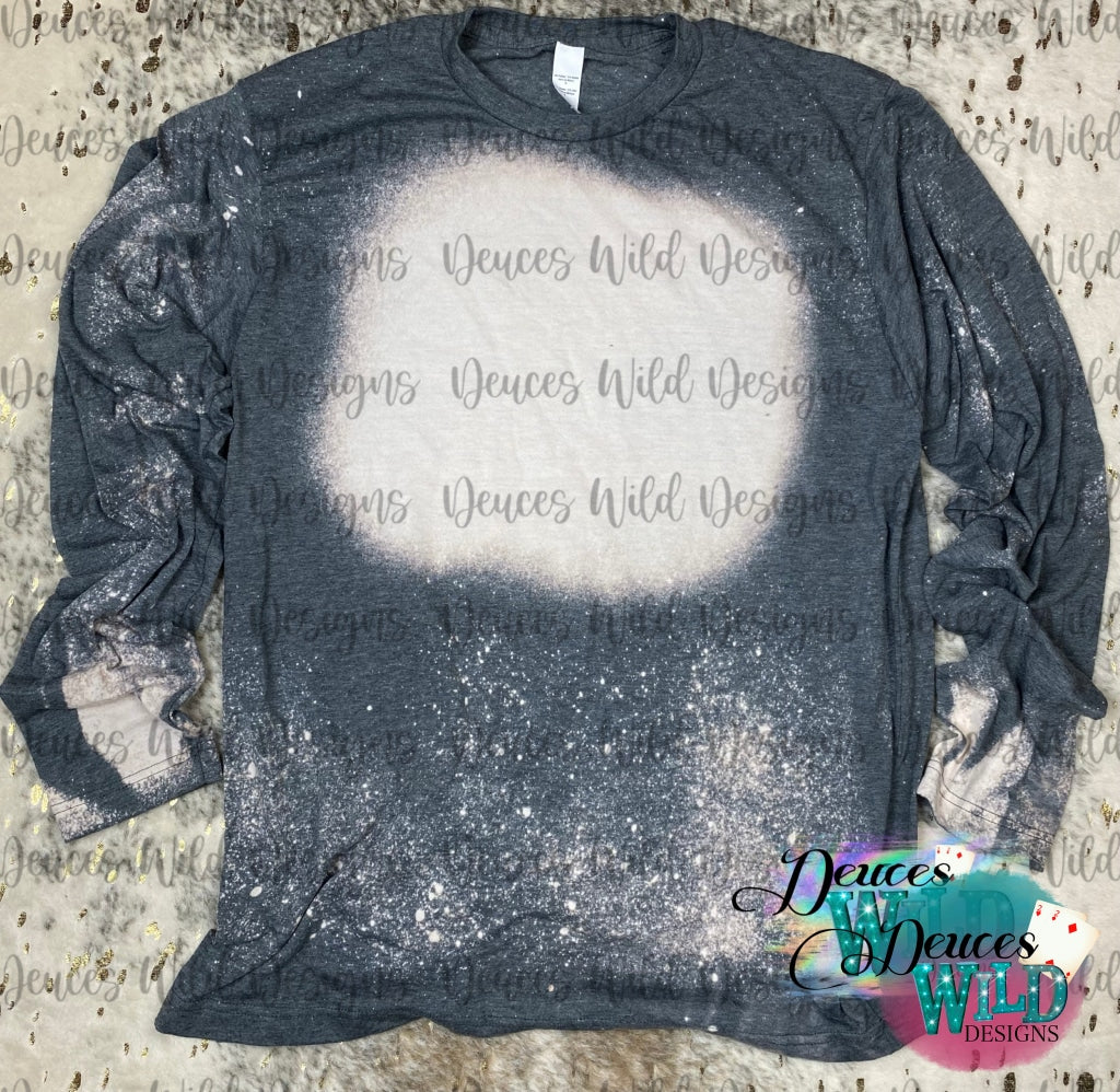 Charcoal Long Sleeve Bleached Distressed Tee (Crew Neck)