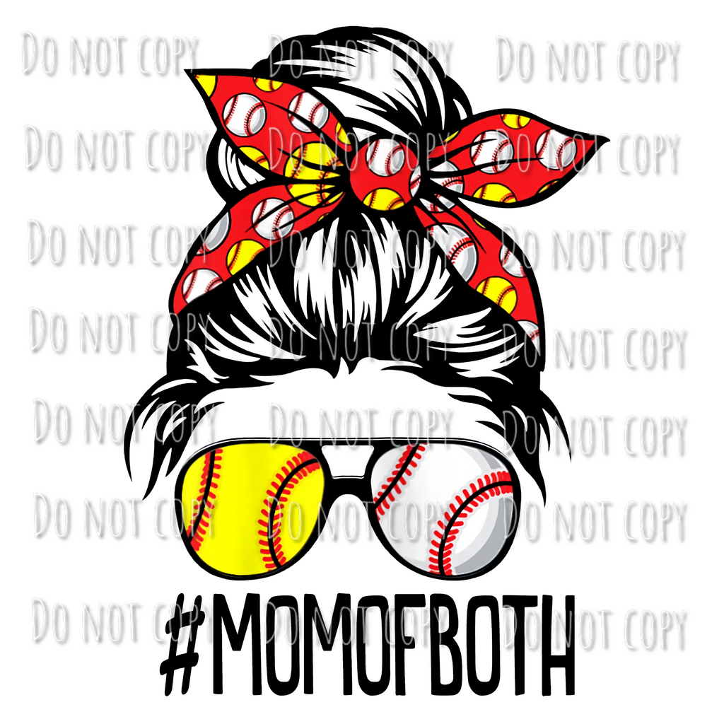 Mom of Both Softball Baseball Design