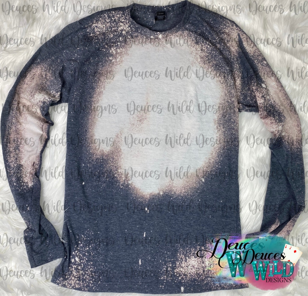 Navy Long Sleeve Bleached Distressed Tee (Crew Neck)