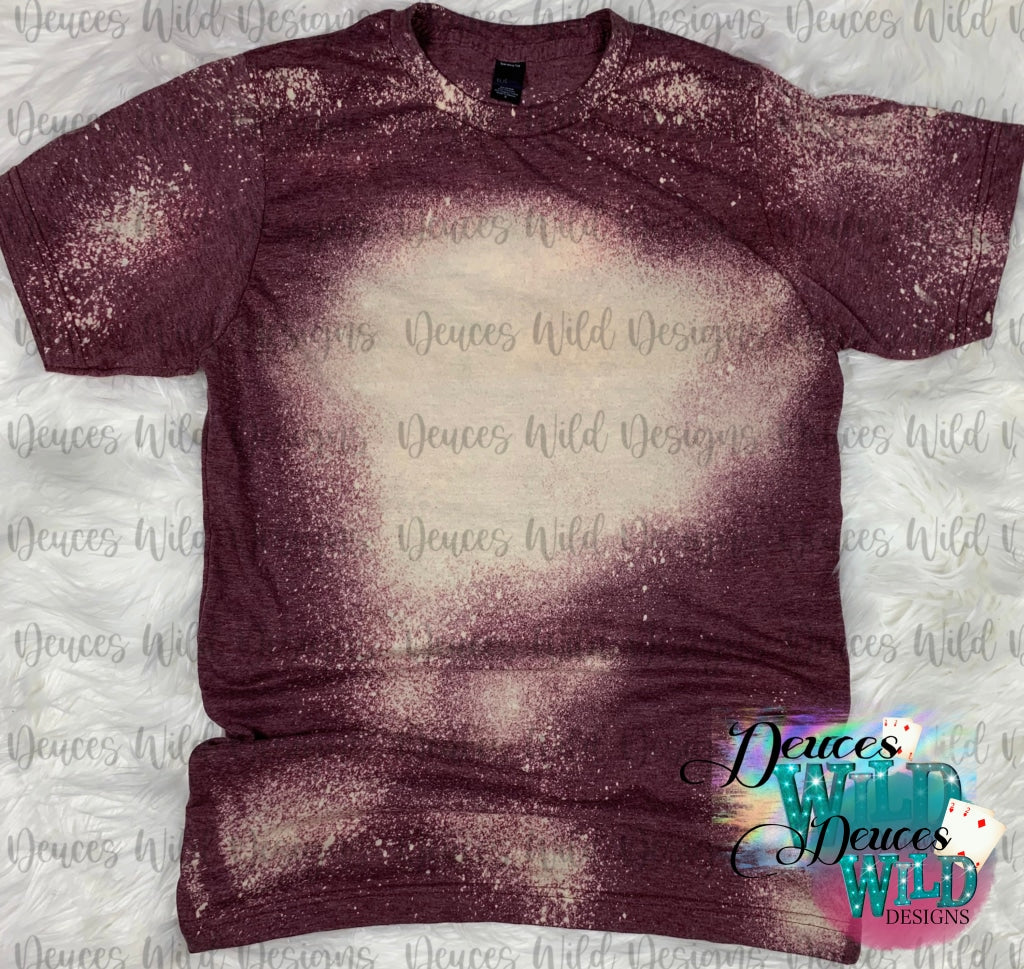 Burgundy Bleached Distressed Tee (Crew Neck)