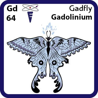Gd Gadolinium- Familiar Gadfly Science Game for Kids Character