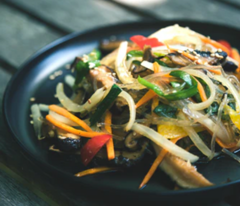 East Asian or Chinese stir fry dish made only from vegetables and plant-based foods