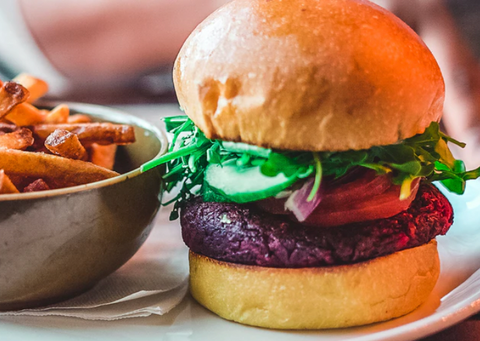 Vegetarian Burger and French Fries meal with cheese and dairy removed