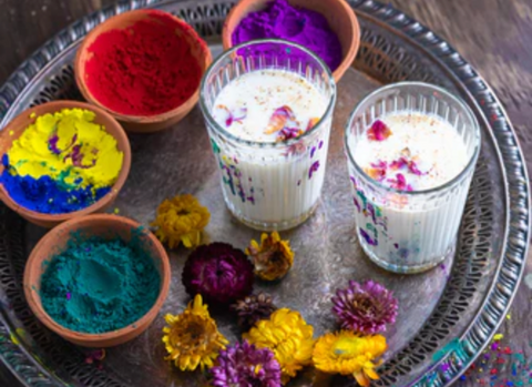 Aerial view of Holi Thandai and organic colours made from plant-based, natural ingredients