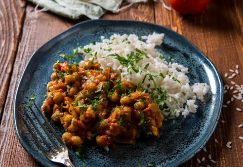 Indian Jeera rice and Channa masala made from chickpeas and plant-based ingredients
