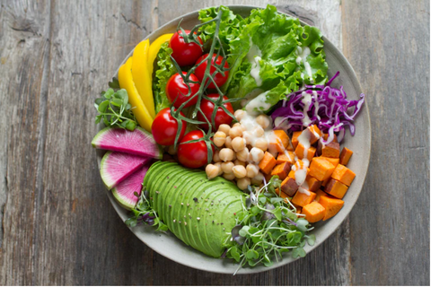 Aerial view of Vegetarian Salad bowl with plant-based foods and ingredients, cut and prepared for cooking